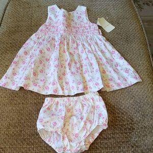 New Laura Ashley Girls Pink Flower Dress w/ bottom